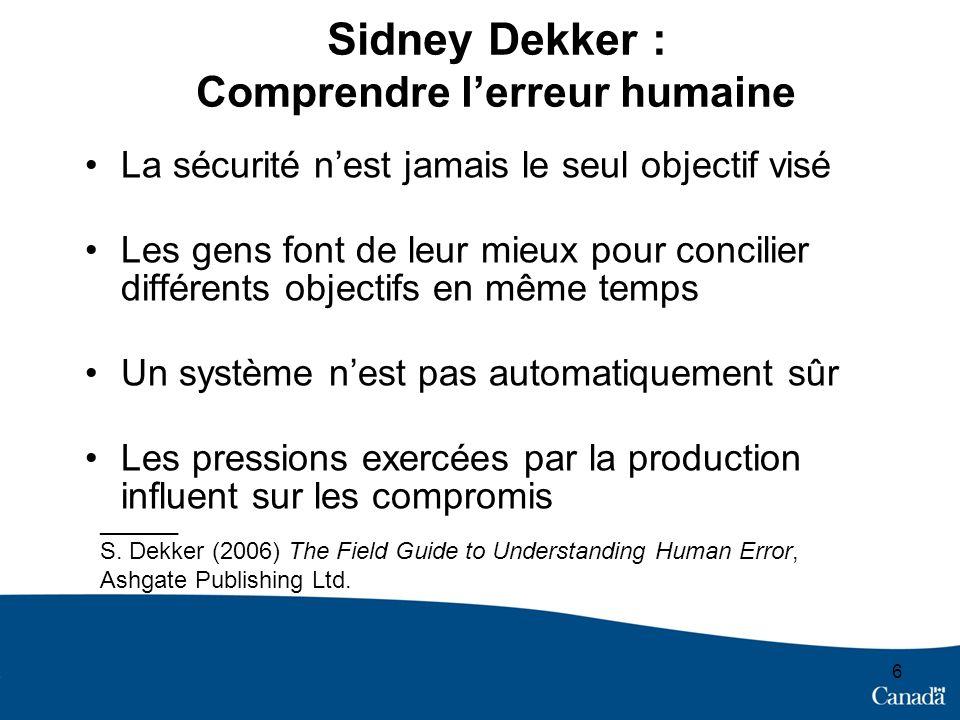 Sidney Dekker : Comprendre l'erreur humaine
