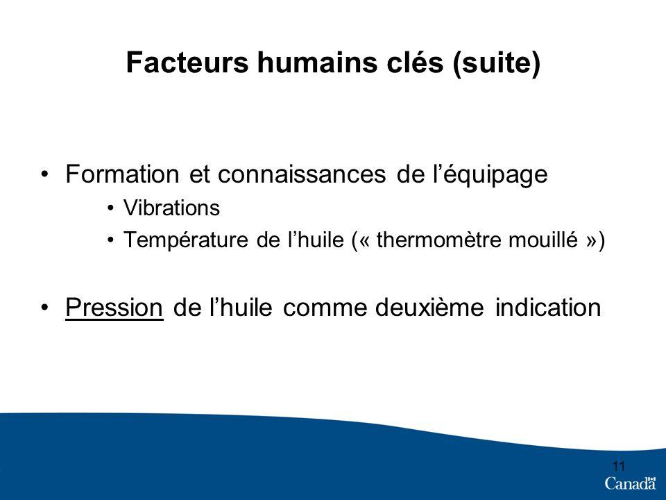 Facteurs humains clés (suite)