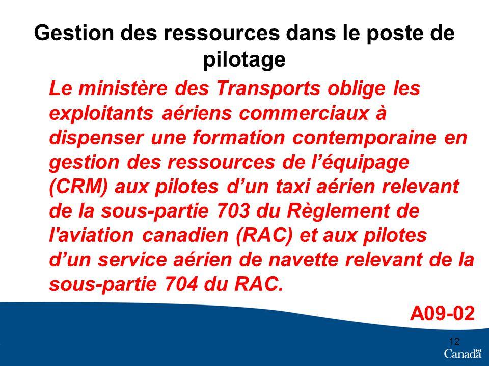 Gestion des ressources dans le poste de pilotage