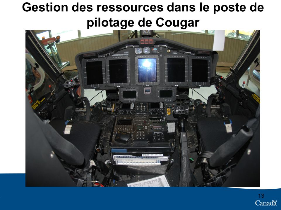 Gestion des ressources dans le poste de pilotage de Cougar