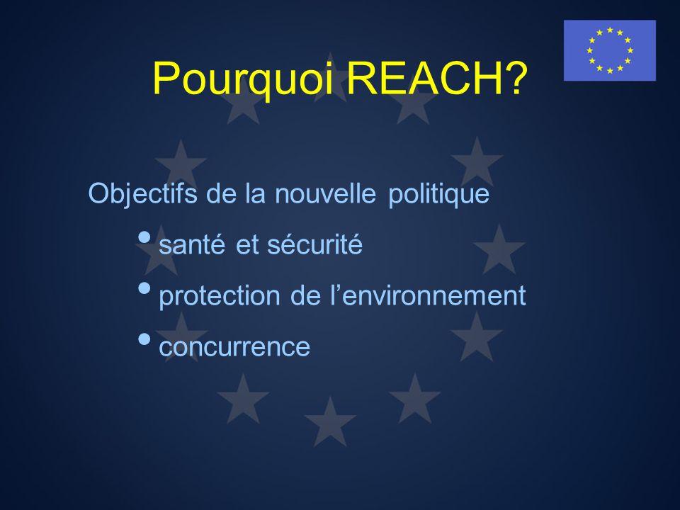 Pourquoi REACH Objectifs de la nouvelle politique santé et sécurité