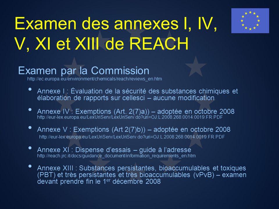 Examen des annexes I, IV, V, XI et XIII de REACH