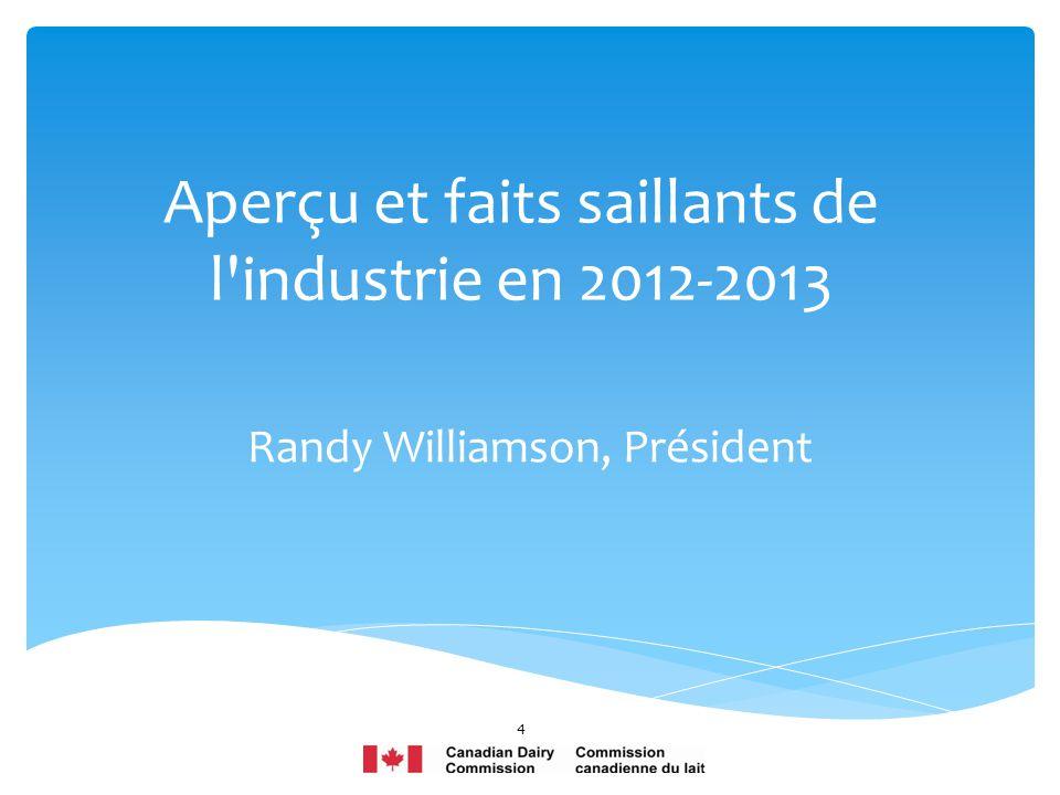 Aperçu et faits saillants de l industrie en 2012-2013