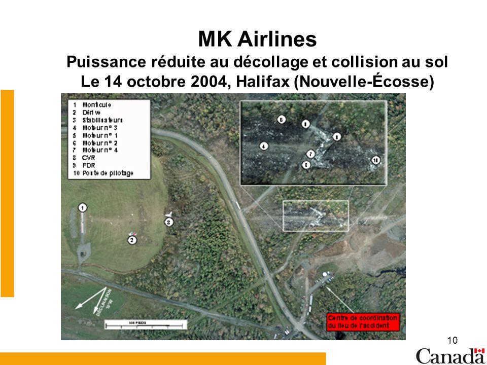 MK Airlines Puissance réduite au décollage et collision au sol Le 14 octobre 2004, Halifax (Nouvelle-Écosse)
