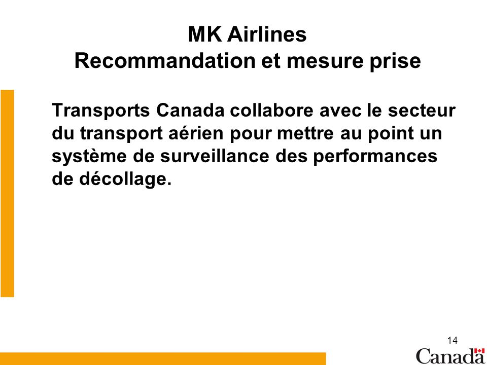 MK Airlines Recommandation et mesure prise