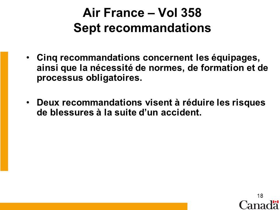 Air France – Vol 358 Sept recommandations