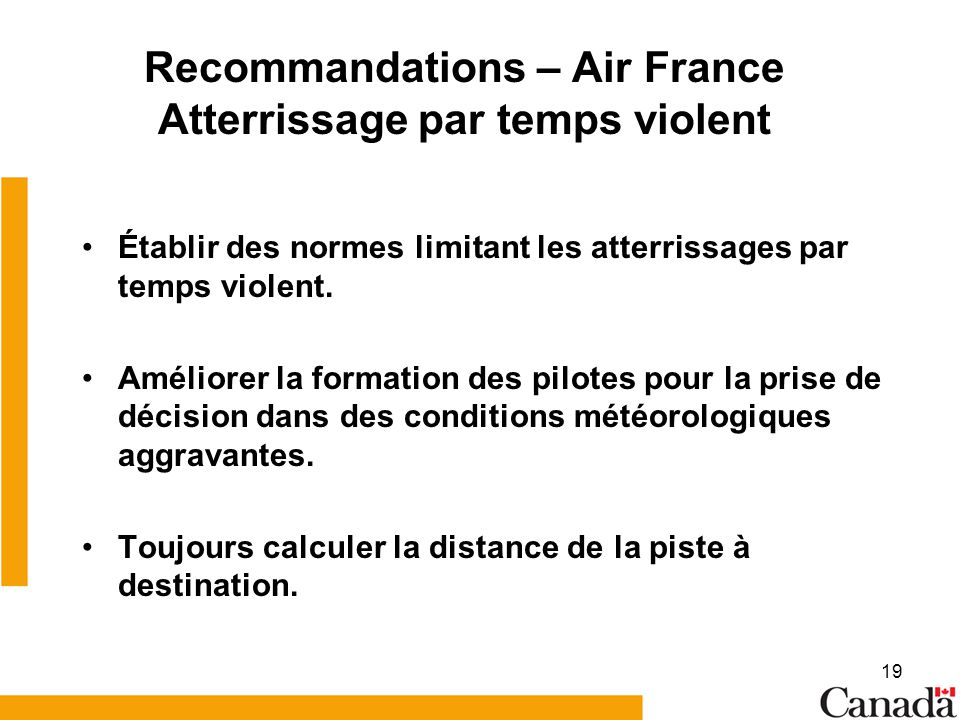 Recommandations – Air France Atterrissage par temps violent