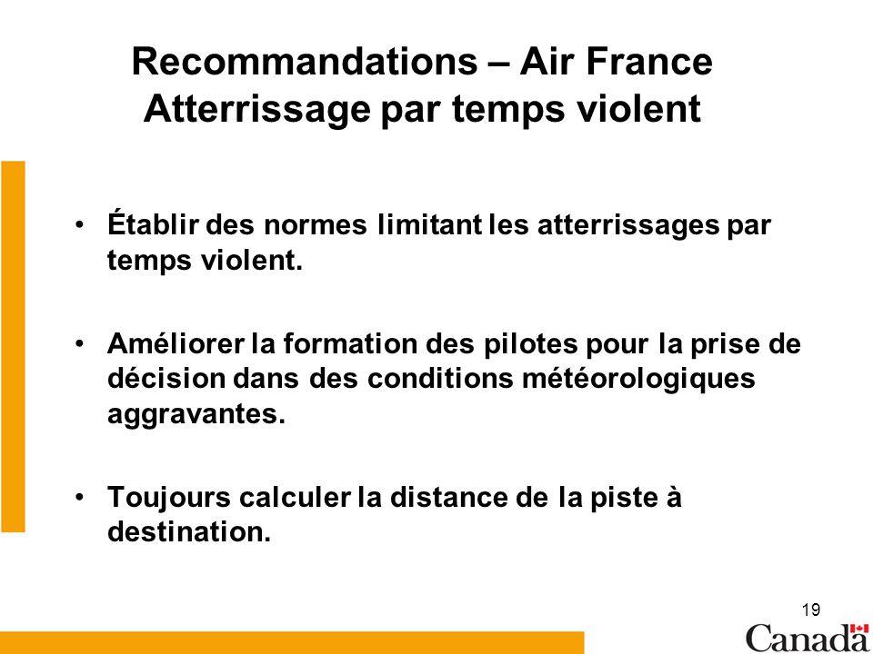 Recommandations – Air France Atterrissage par temps violent