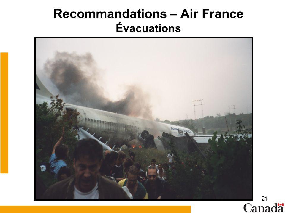 Recommandations – Air France Évacuations