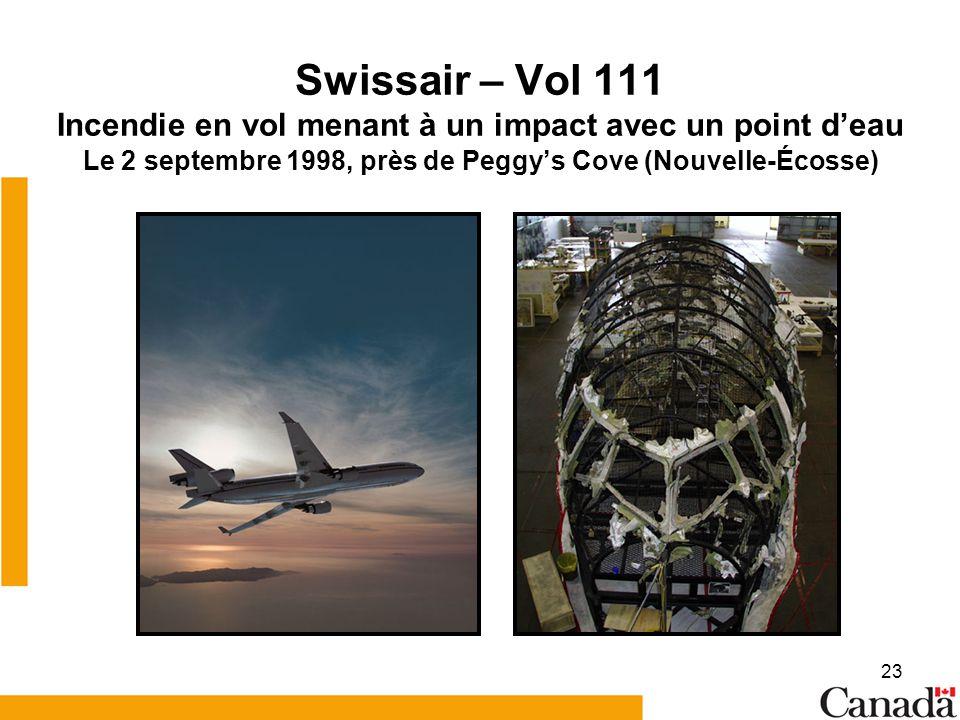 Swissair – Vol 111 Incendie en vol menant à un impact avec un point d'eau Le 2 septembre 1998, près de Peggy's Cove (Nouvelle-Écosse)