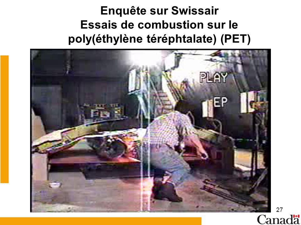 Enquête sur Swissair Essais de combustion sur le poly(éthylène téréphtalate) (PET)