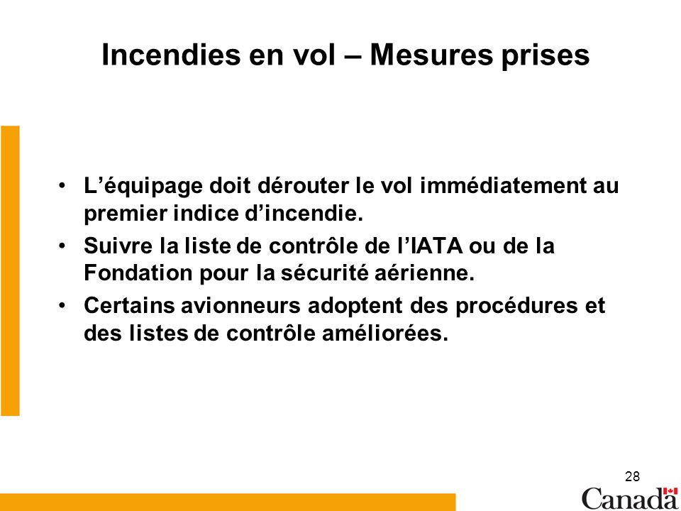 Incendies en vol – Mesures prises
