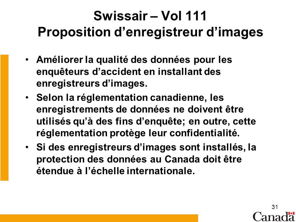 Swissair – Vol 111 Proposition d'enregistreur d'images