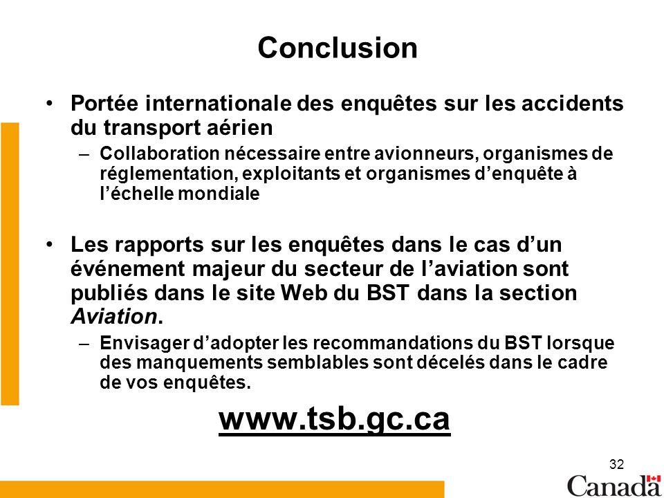 www.tsb.gc.ca Conclusion