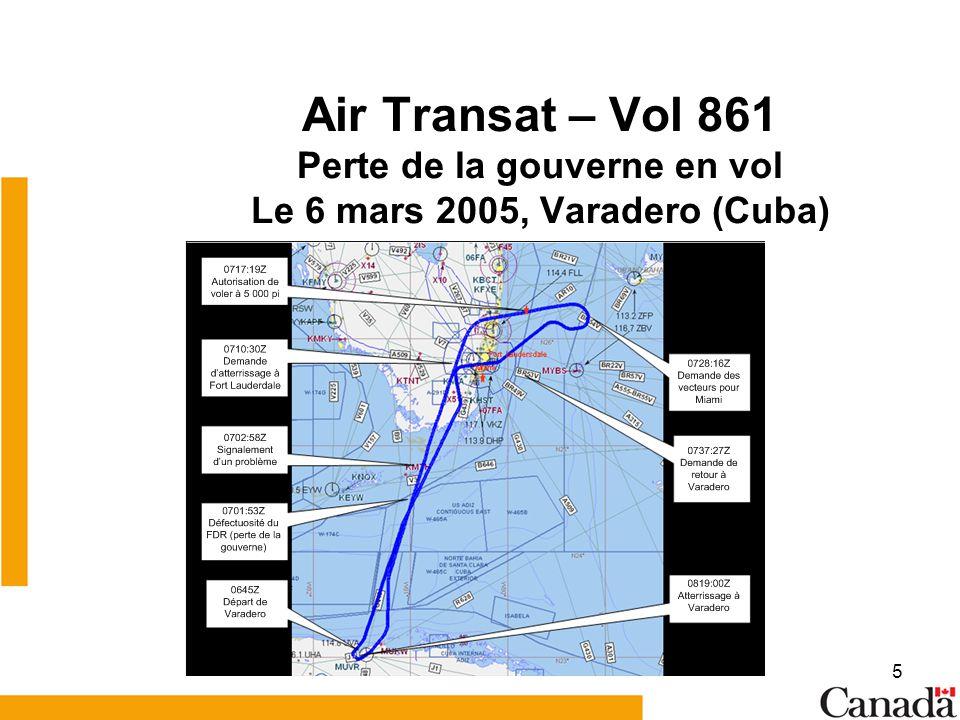 Air Transat – Vol 861 Perte de la gouverne en vol Le 6 mars 2005, Varadero (Cuba)