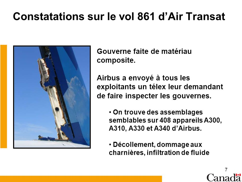 Constatations sur le vol 861 d'Air Transat