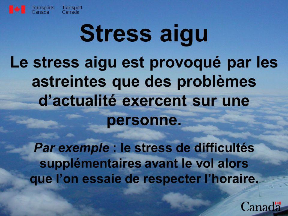 Stress aigu Le stress aigu est provoqué par les astreintes que des problèmes d'actualité exercent sur une personne.