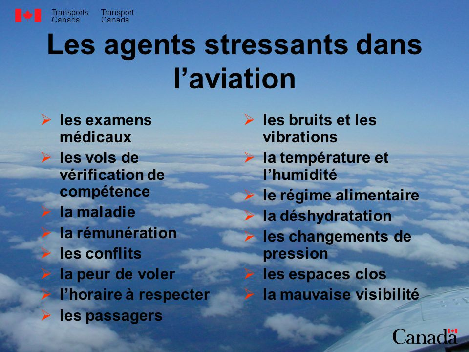 Les agents stressants dans l'aviation