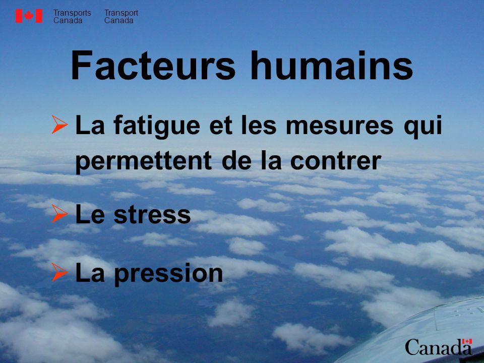 Facteurs humains La fatigue et les mesures qui permettent de la contrer. Le stress. La pression.