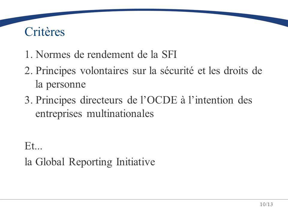 Critères 1. Normes de rendement de la SFI