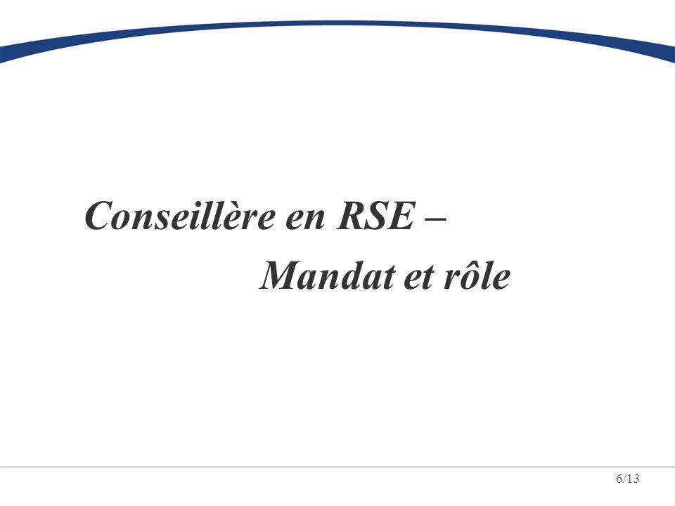 Conseillère en RSE – Mandat et rôle