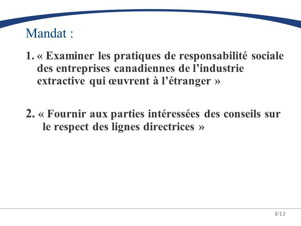 Mandat : « Examiner les pratiques de responsabilité sociale des entreprises canadiennes de l'industrie extractive qui œuvrent à l'étranger »