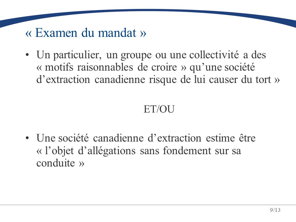 « Examen du mandat »