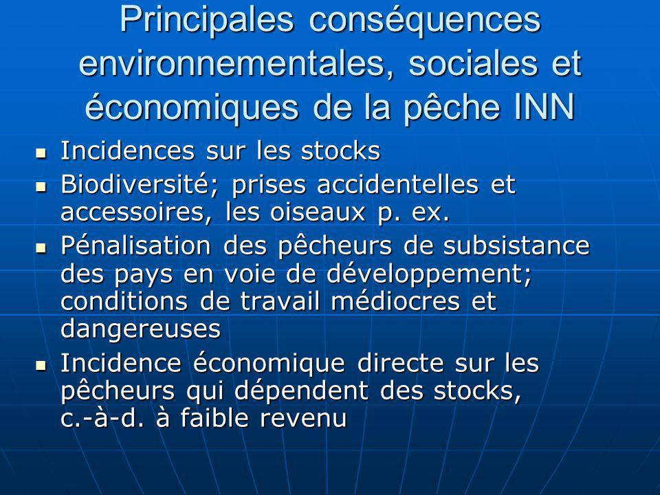 Principales conséquences environnementales, sociales et économiques de la pêche INN