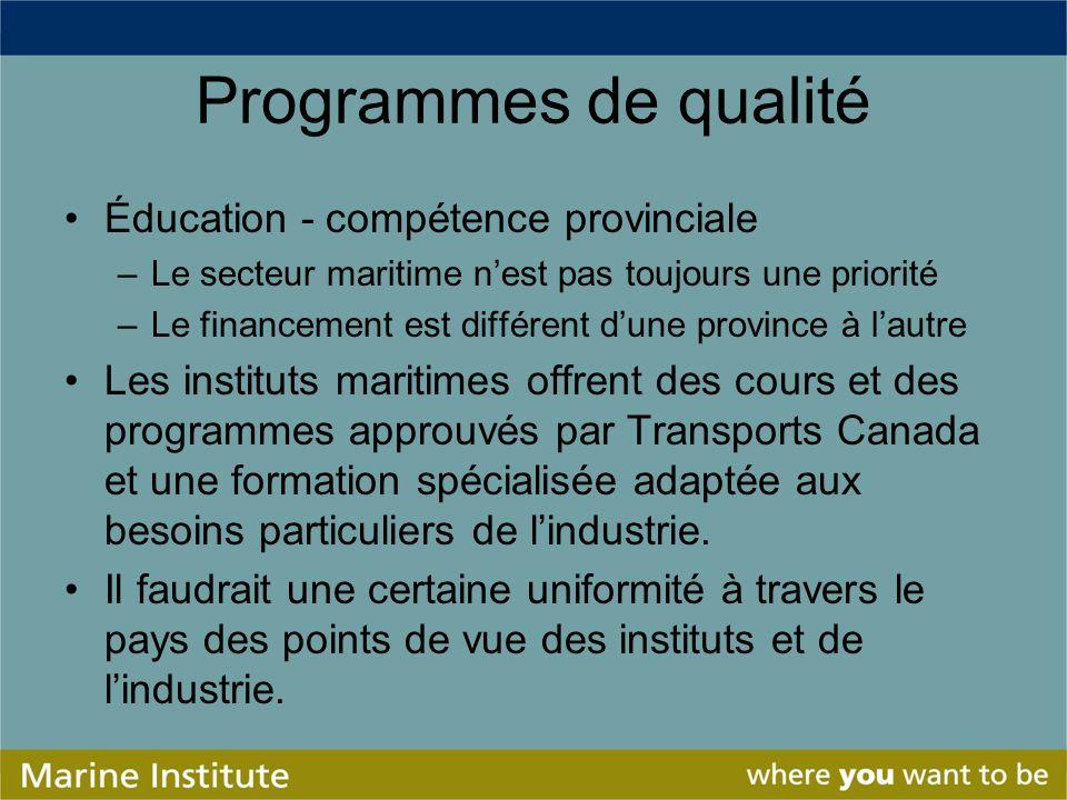 Programmes de qualité Éducation - compétence provinciale