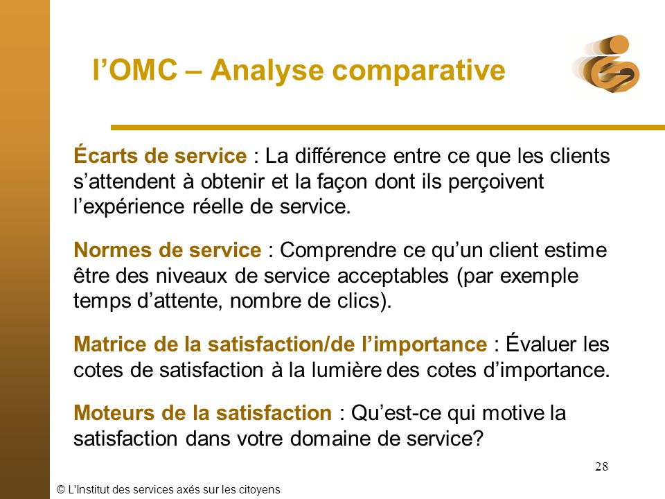 l'OMC – Analyse comparative
