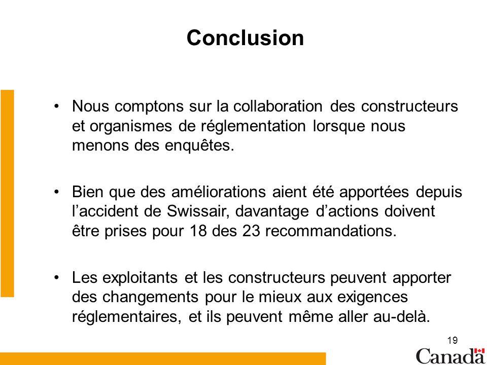 Conclusion Nous comptons sur la collaboration des constructeurs et organismes de réglementation lorsque nous menons des enquêtes.