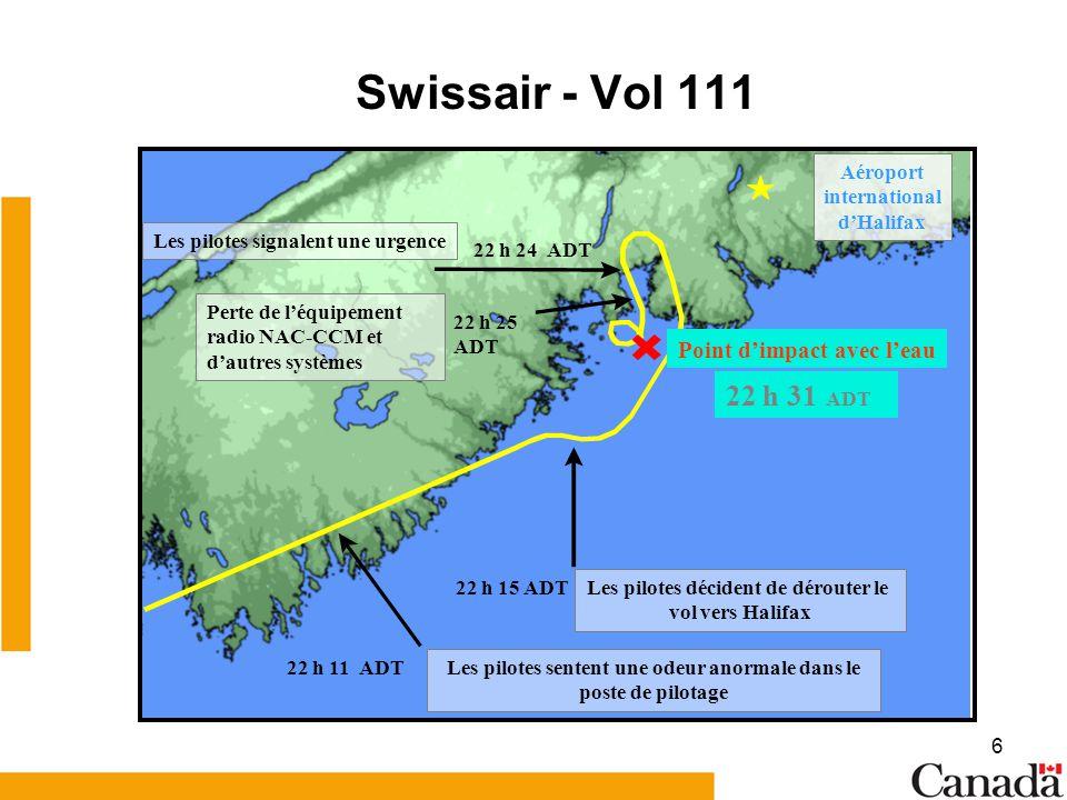 Swissair - Vol 111 22 h 31 ADT Point d'impact avec l'eau Aéroport