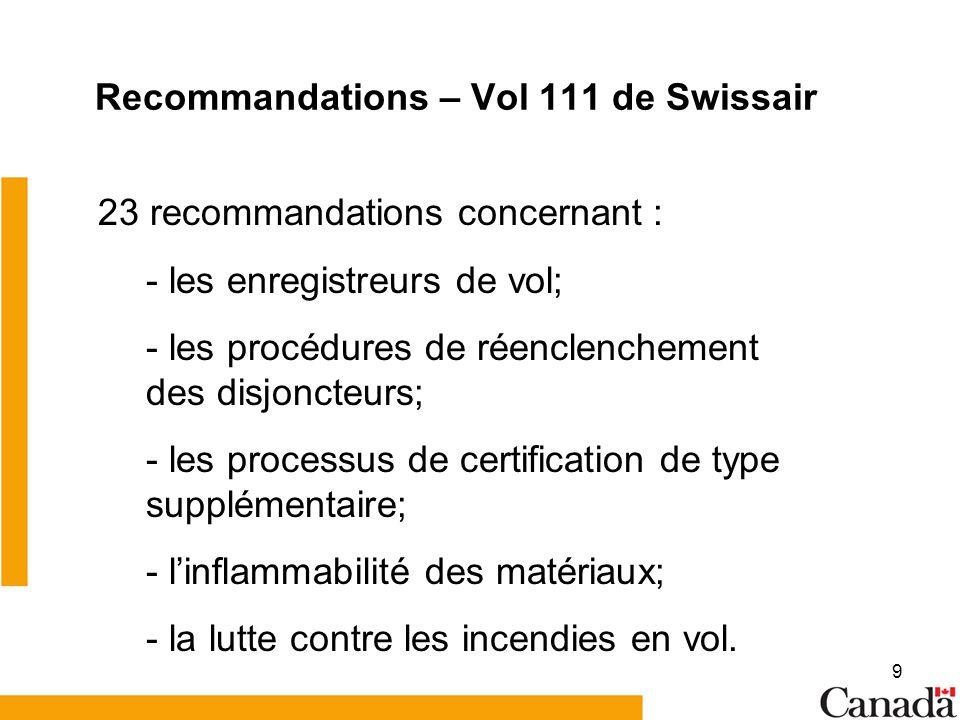 Recommandations – Vol 111 de Swissair