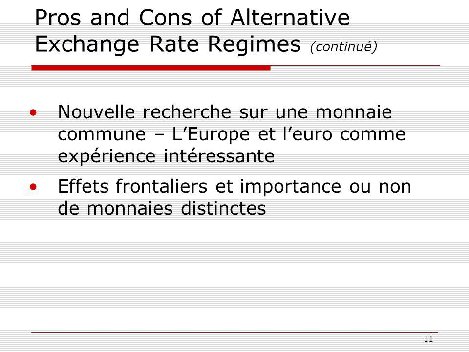 Pros and Cons of Alternative Exchange Rate Regimes (continué)