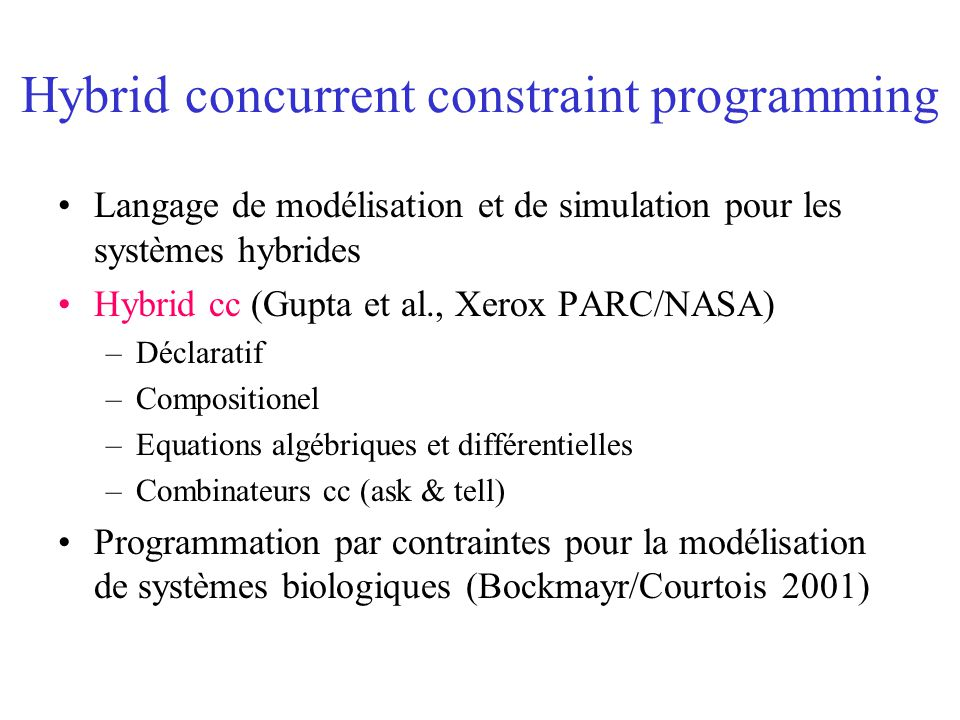 Hybrid concurrent constraint programming
