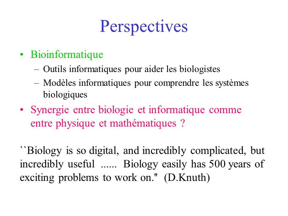 Perspectives Bioinformatique