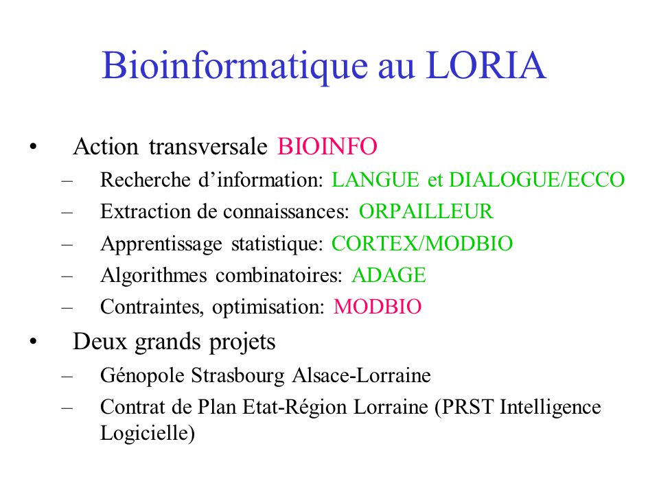 Bioinformatique au LORIA