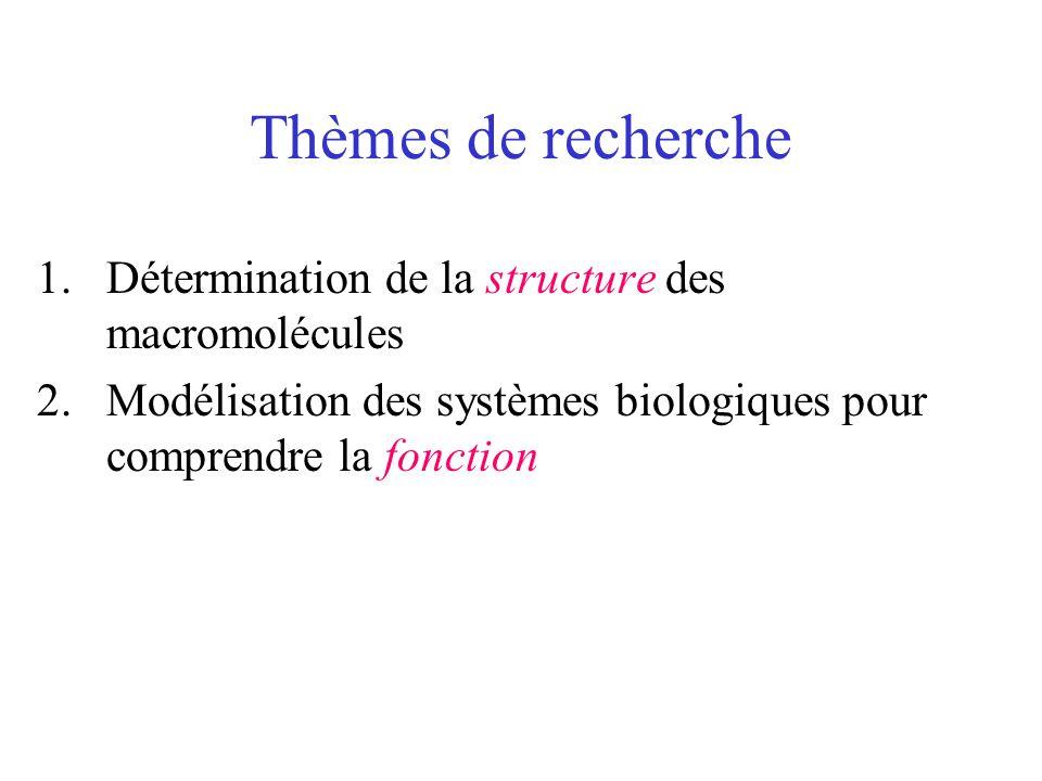 Thèmes de recherche Détermination de la structure des macromolécules