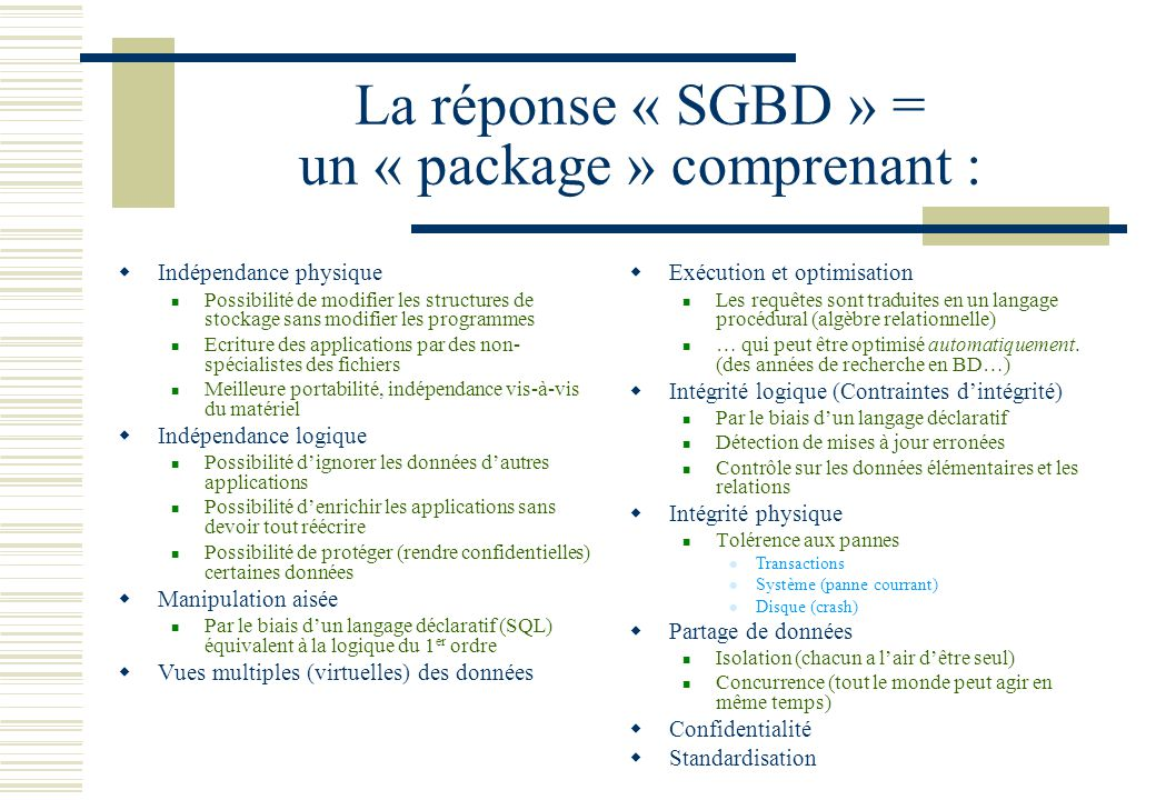 La réponse « SGBD » = un « package » comprenant :