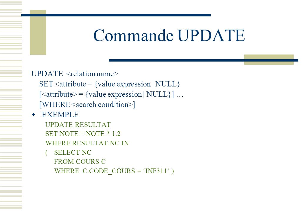 Commande UPDATE UPDATE <relation name>