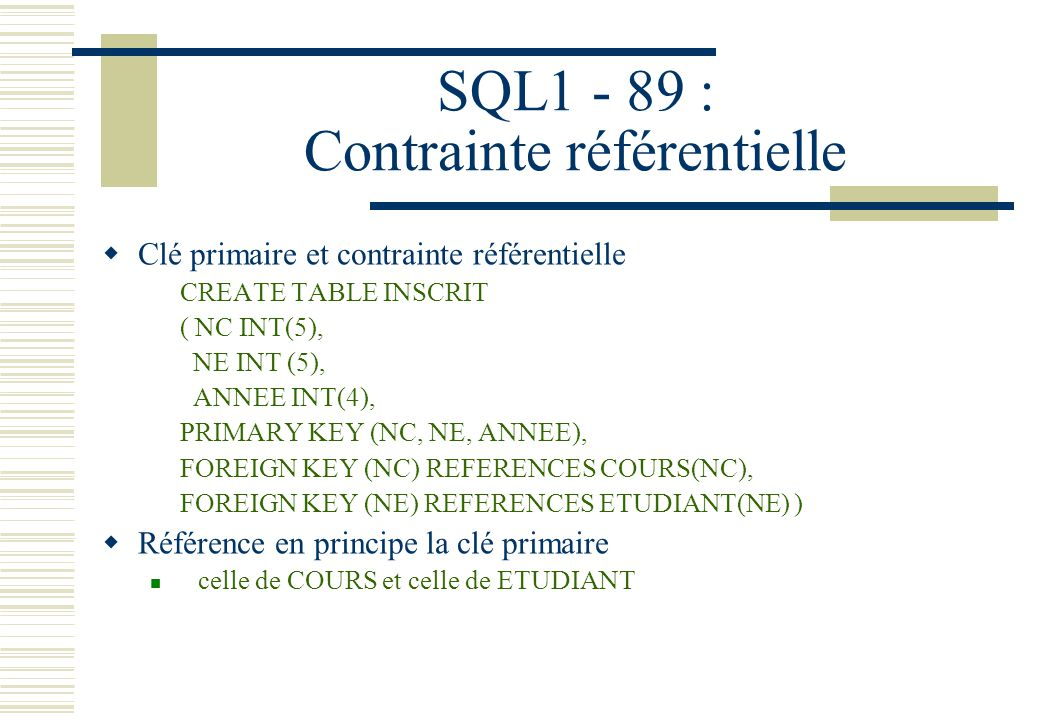SQL1 - 89 : Contrainte référentielle