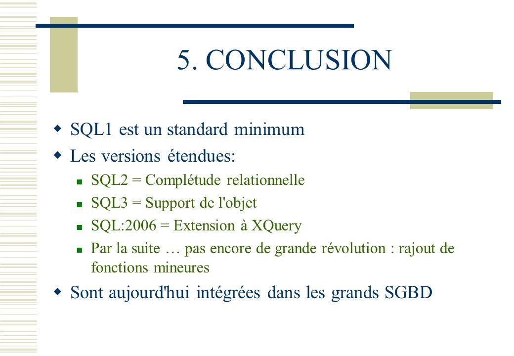 5. CONCLUSION SQL1 est un standard minimum Les versions étendues: