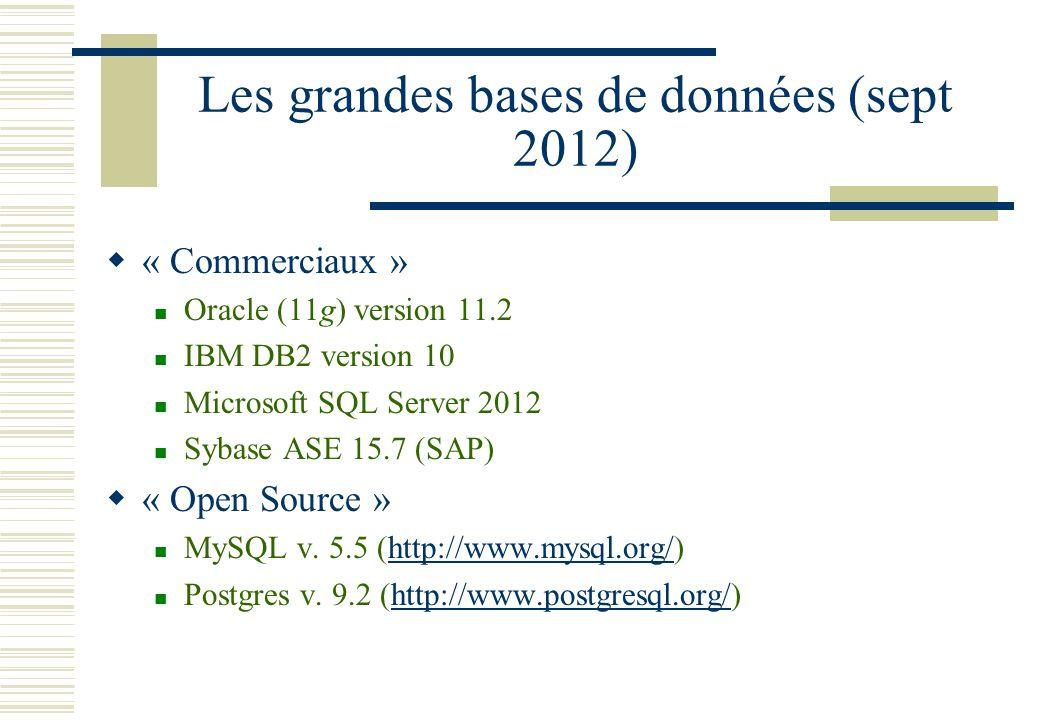 Les grandes bases de données (sept 2012)