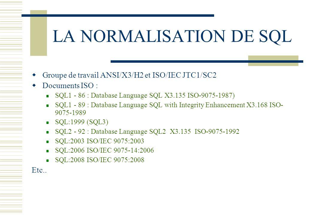 LA NORMALISATION DE SQL
