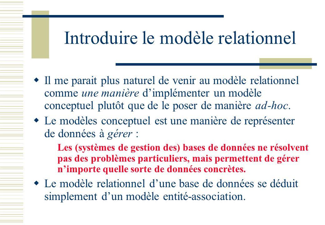 Introduire le modèle relationnel