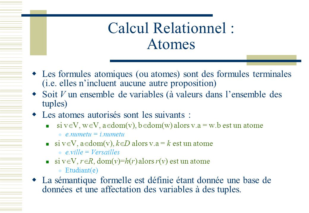 Calcul Relationnel : Atomes