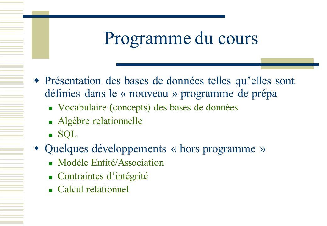 Programme du cours Présentation des bases de données telles qu'elles sont définies dans le « nouveau » programme de prépa.