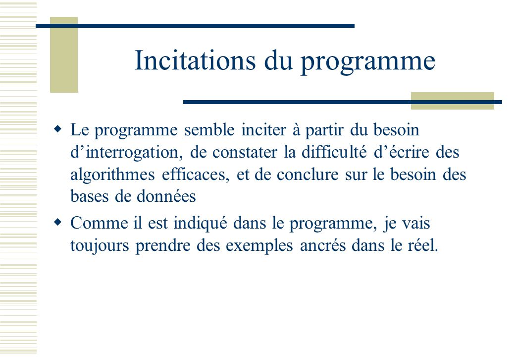 Incitations du programme