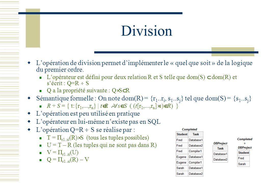 Division L'opération de division permet d'implémenter le « quel que soit » de la logique du premier ordre.