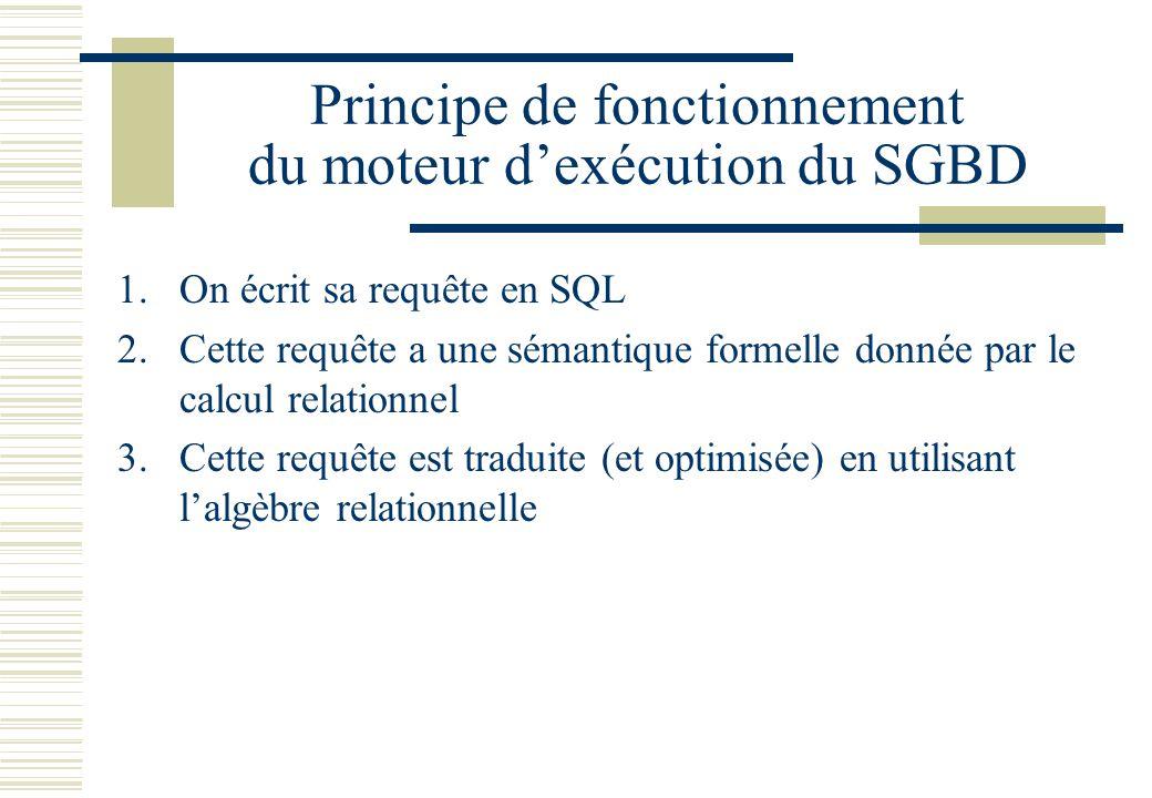Principe de fonctionnement du moteur d'exécution du SGBD